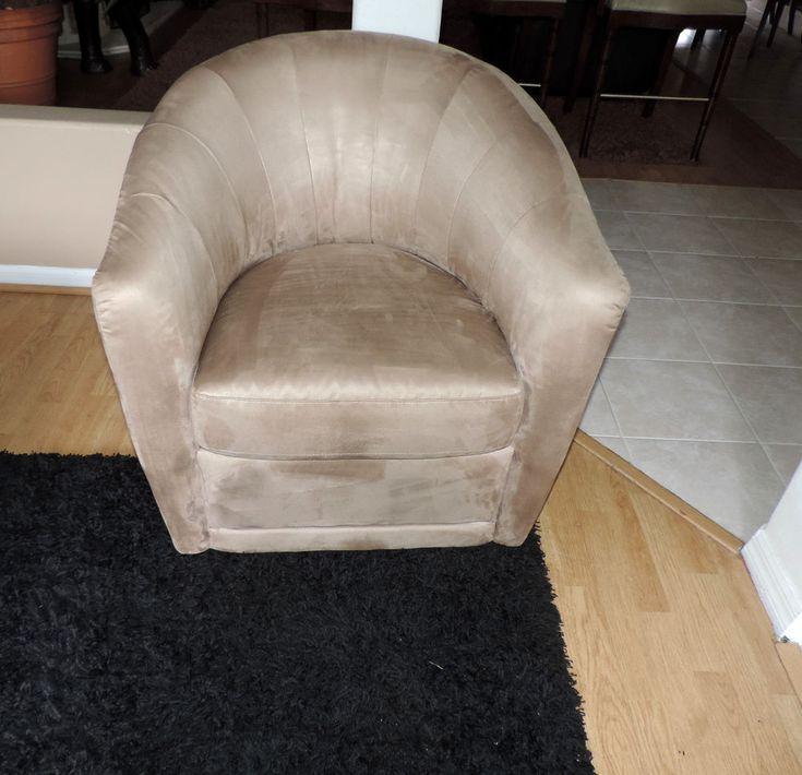 Natuzzi Italsofa Mocha Microfiber Barrel Chair We Ship