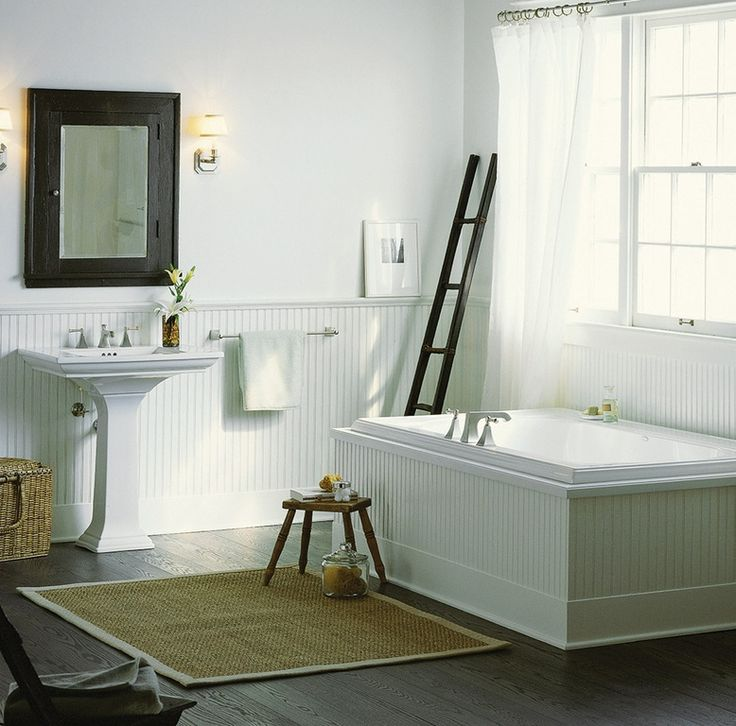 Cottage master bathroom with house of fara 8 sq ft mdf for High ceiling bathroom ideas