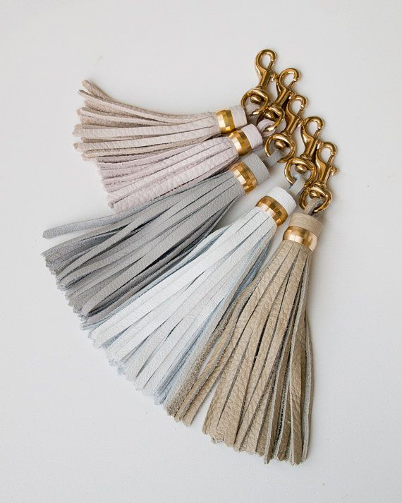 Large Leather Tassel / Blush Grey White Nude / Brass Keychain