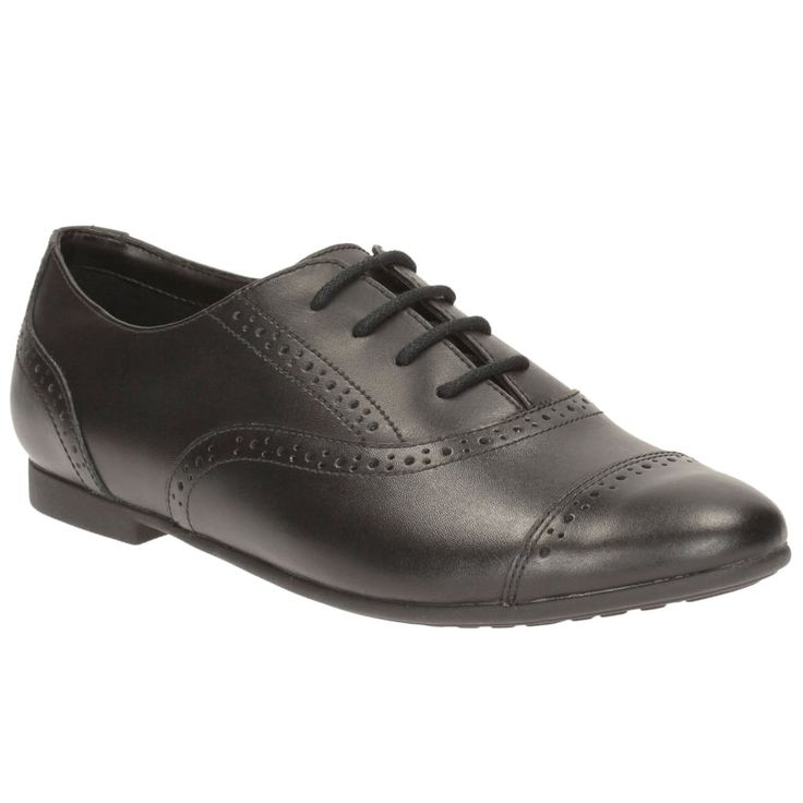 Smart and stylish, the Clarks SelseyCool girls' school shoes are an on-trend pair from Clarks' Bootleg range. These black leather lace-ups are the perfect pair to punctuate a school uniform or add a fashionable finish to formalwear. With a feminine almond shaped toe and decorative hole-punched brogue-style detailing to the upper, as well as boldly coloured insole, this pair are set to make an impression. Set on a slim rubber sole, the Clarks SelseyCool Bootleg school shoes flex with every…
