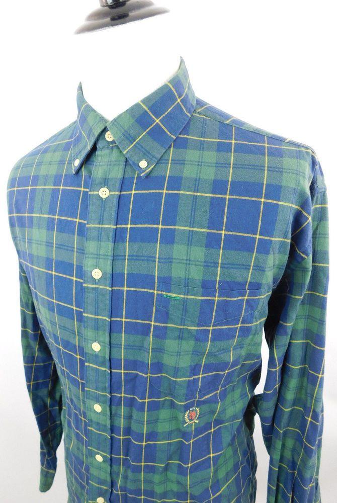 3d96eeaf Tommy Hilfiger Men's Button Down Plaid Green Navy Dress Shirt size XL  Cotton #fashion #