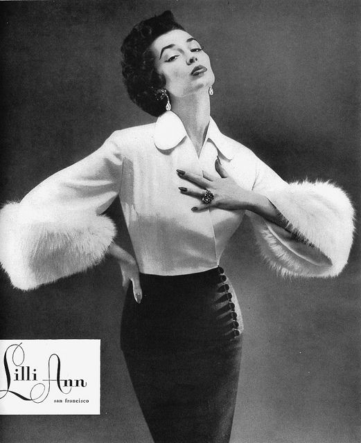 1950s, dorian leigh ~ the blouse with fur cuff sleeves!! The skirt with button details !!