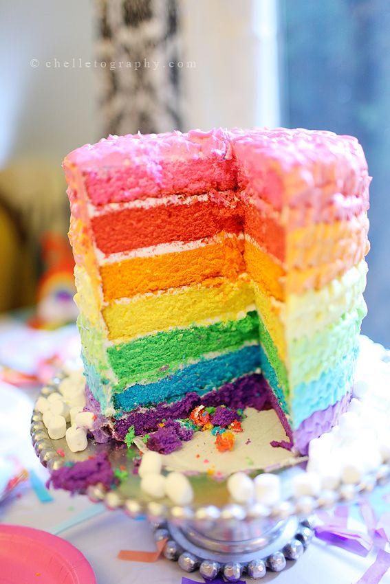 rainbow layer cake | Chelletography | Pinterest