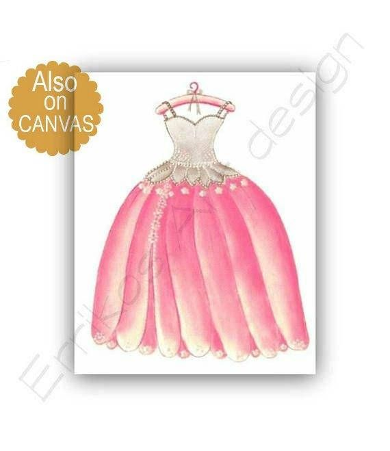 Princess Dress Wall Art Baby Girl Nursery Pink brown Girls