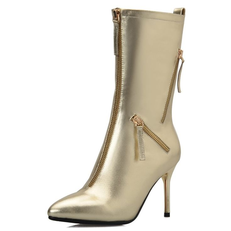 135.00$  Watch now - http://alin6r.worldwells.pw/go.php?t=32617117805 - ( silver/ gold) Free shipping Zip Women's Pointed Toe boots Fashion high heels Full Grain Leather Ankle boots for women 135.00$