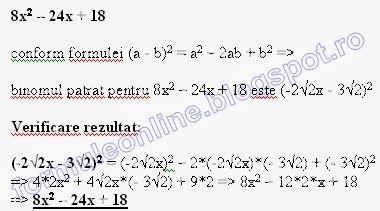 formuleonline probleme si exercitii rezolvate: 8x^2-24x+18
