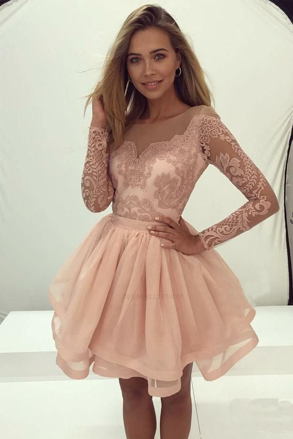 Discount Comfortable Lace Prom Dresses, Prom Dresses With Sleeves, Homecoming Dresses Short