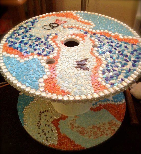 Mosaic Tiled Industrial Spool (the pink pattern on the bottom is my broken bowl) by Donna Lipin  https://www.facebook.com/pages/Donna-Lipin/85338411625?fref=ts