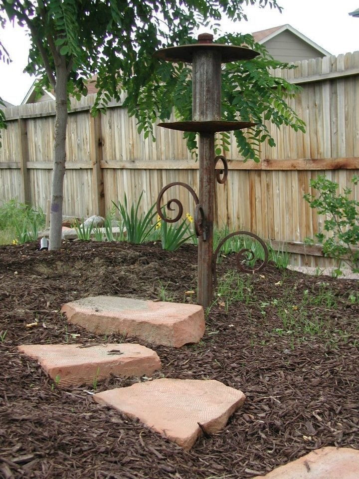 Bird Feeder Made From Scrap Metal Pipe Disks And