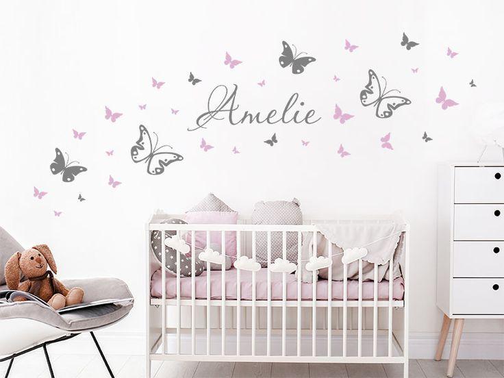 Fototapete Schmetterlinge Mit Dem Gewunschten Namen Kinder Wandtattoo Kinderzimmer Wandtattoo Babyzimmer Wandtattoos Kinderzimmer