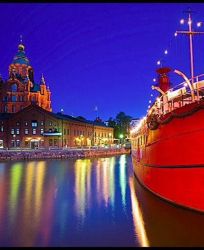 Helsinki - Uspenski Cathedral and the Lightship Relandersgrund Uspenski Cathedral - Halkolaituri Vedkajen Marina - Helsinki, Finland. Taken at midnight.