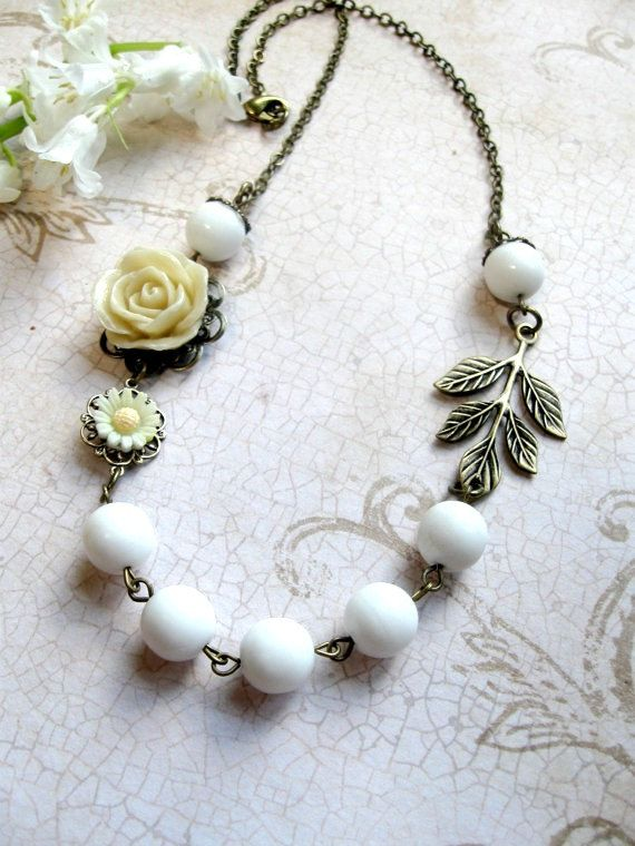 White Flower Necklace  vintage style  glass beads by botanicalbird, $28.00