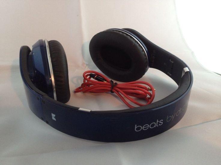 Used Original Monster Beats by Dr Dre STUDIO Earphones Headphones BLUE Genuine #1 #2 #3 #4 #music #musician #techno #dance