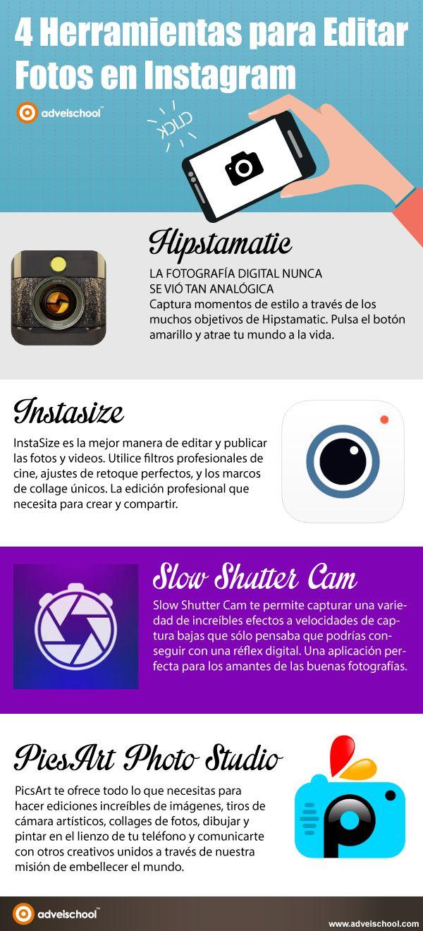 4 Herramientas para Editar Fotos en Instagram #infografia