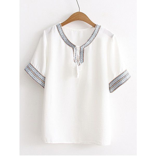 SheIn(sheinside) Tribal Print Tassel Tie Top ($15) ❤ liked on Polyvore featuring tops, white, white short sleeve top, boho tops, white embroidered top, white boho top and white embellished top