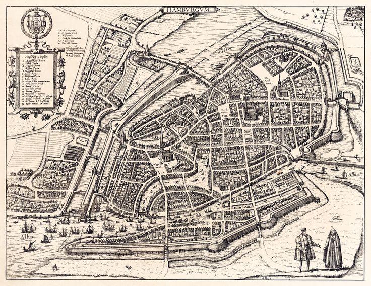 Karte Hamburg 1592, aus dem Kartenwerk von Braun/Hogenberg, photo-lithographisches Replikat vom Verlag Strumper & Co., 1880.
