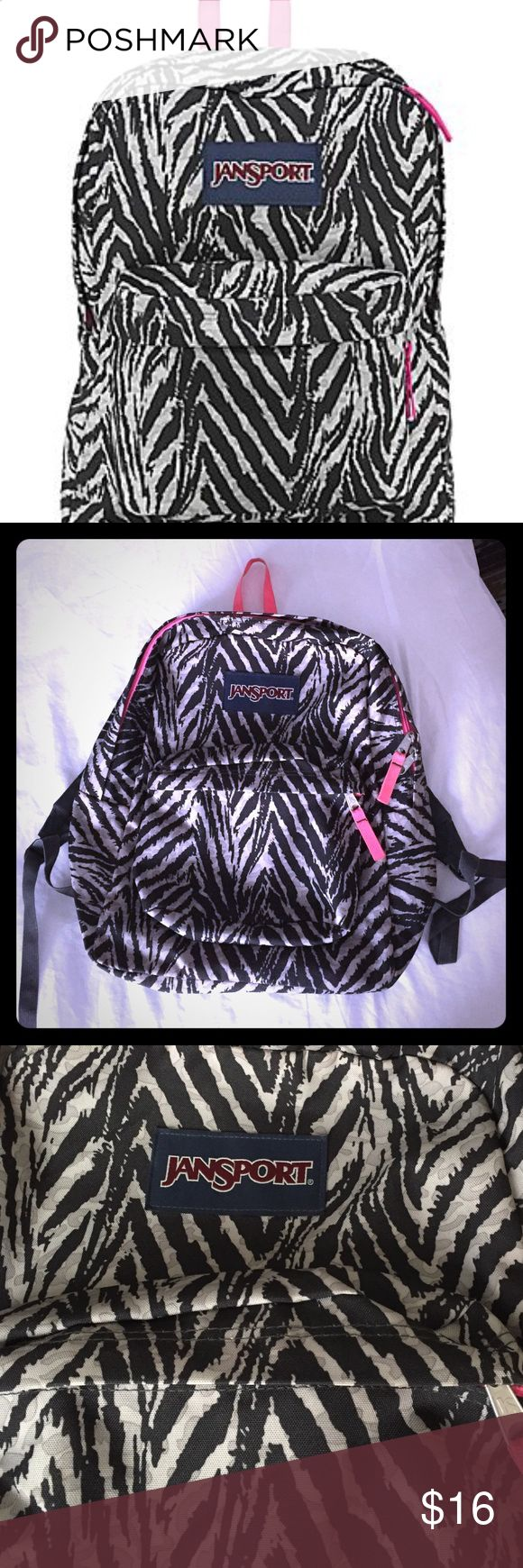 Black/Gray/Pink Jansport backpack This backpack is in EUC- pink detail with a fun animal print type pattern. Standard backpack size Jansport Bags Backpacks