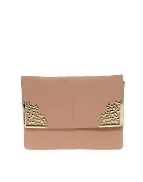 Image 1 ofASOS Clutch Bag With Flower Metal Corners