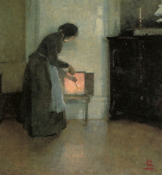 At the Hearth (by fire) - Helene Schjerfbeck 1893. Finnish 1862-1946 Oil on canvas. 33x32 cm.