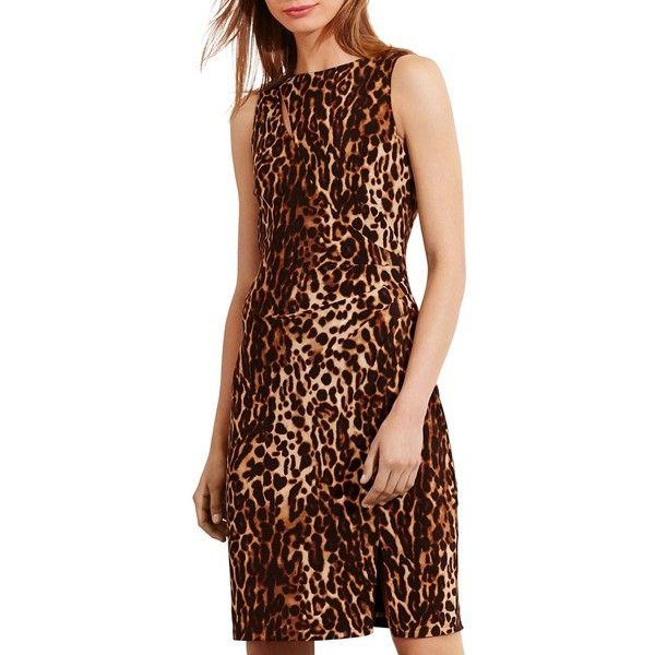 Lauren Ralph Lauren Petites Animal Print Sheath Dress ($97) ❤ liked on Polyvore featuring dresses, brown tonal, brown sheath dress, petite sheath dress, cutout dresses, mixed print dress and pattern sheath dress