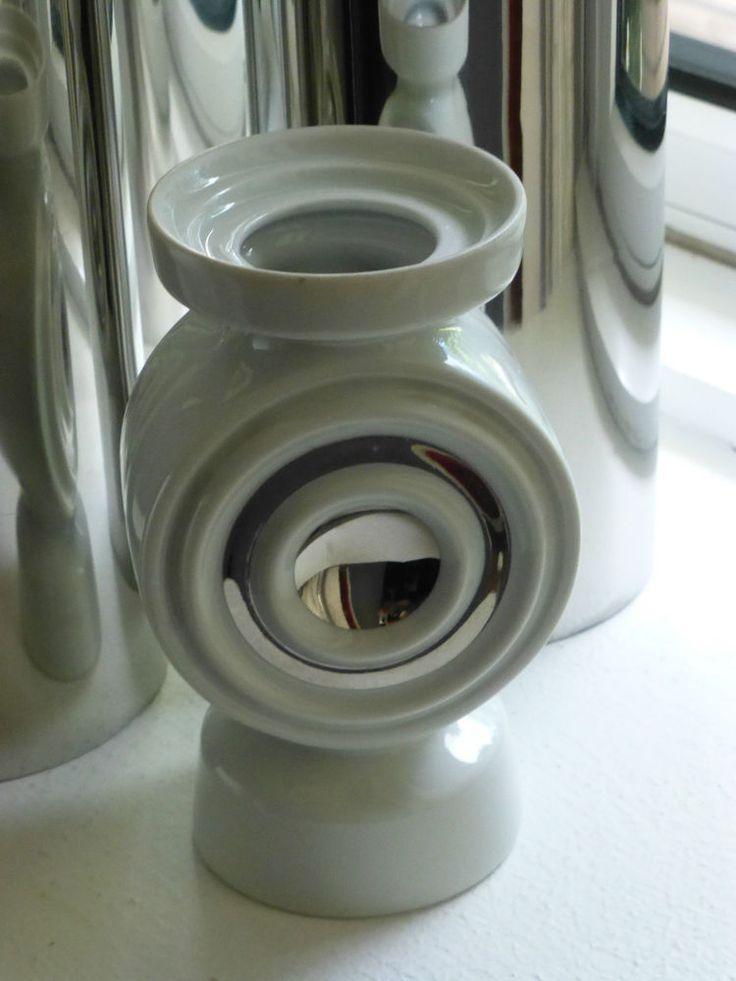 Leuchter Kerzenhalter Porzellan 70er POP ART Space Age  Dekor: Silber / Platin
