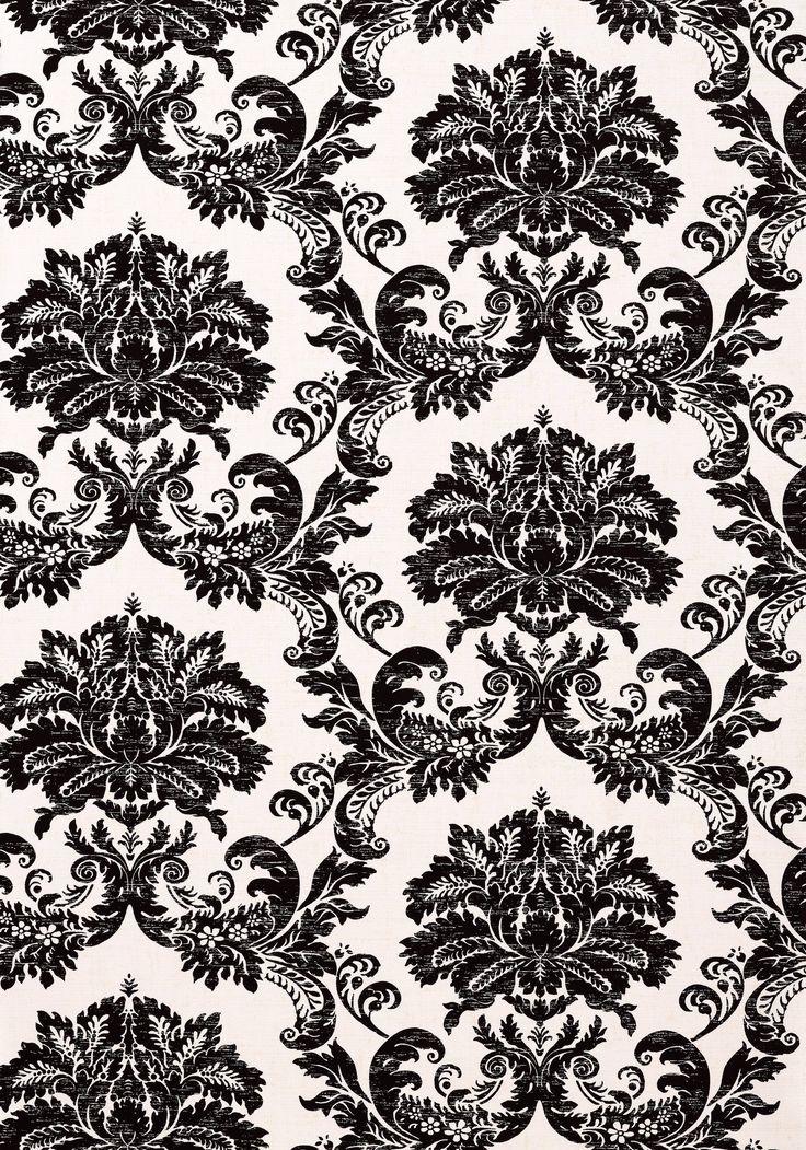 SYMPHONY DAMASK, Black on White, T7637, Collection Damask
