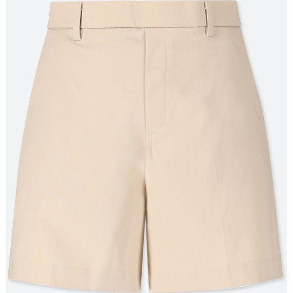 UNIQLO Women's Satin Shorts (65 PEN) ❤ liked on Polyvore featuring shorts, natural, uniqlo, shiny shorts, satin shorts, stretch shorts and dressy shorts