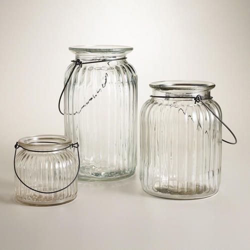 One of my favorite discoveries at WorldMarket.com: Clear Ribbed Glass Lantern Candleholder