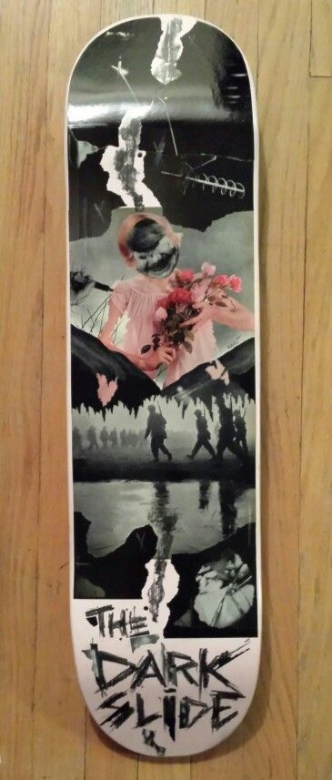 """""""a pace off the darkest slide"""" Original Skateboard Deck Artwork by Math.I  One of a kind hand crafted artwork on a 8"""" x 31"""" skateboard deck  This deck is a one of a kind and was created by up and coming artist for The Dark Slide 3rd Annual Skateboard Deck Art Show at Dubuque Area Arts Collect..."""