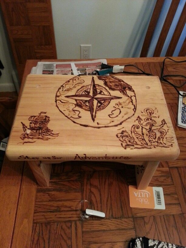 I made this step-stool for my youngest grandson Easton. His mom (my daughter) likes the travel/u0026nautical theme. It was fun I used a creative woodburner ... & 27 best tab stool images on Pinterest | Pyrography Woodburning ... islam-shia.org