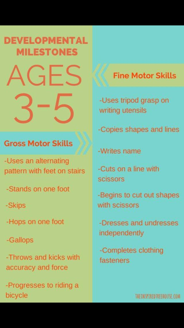 Developmental milestones for ages 3-5 year olds