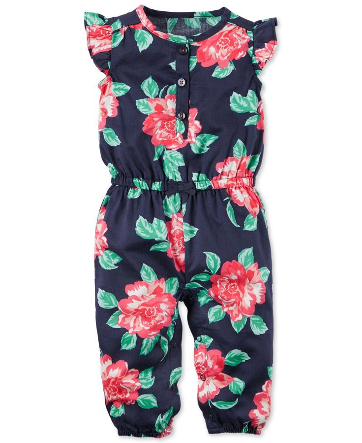 Carter's Baby Girls' Floral-Print Jumpsuit