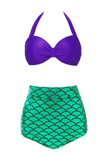 Women's Pretty Mermaid Two Piece High Waist Swimsuit - OASAP.com