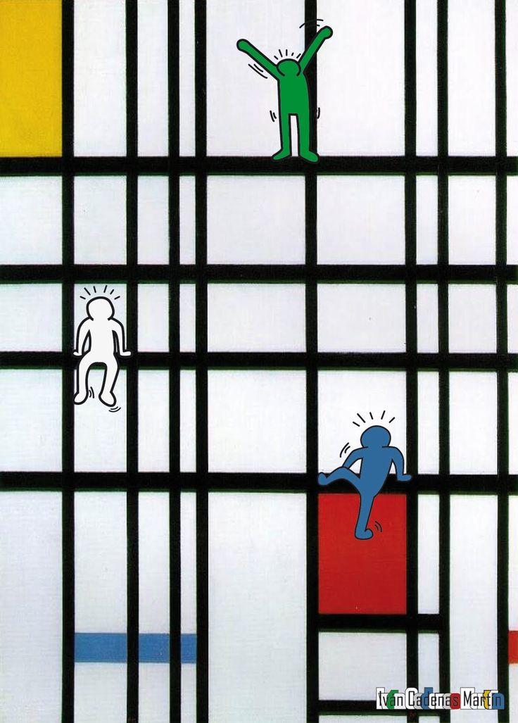 Keith Haring + Piet Mondrian   love this.....hmmmm? Art fair?