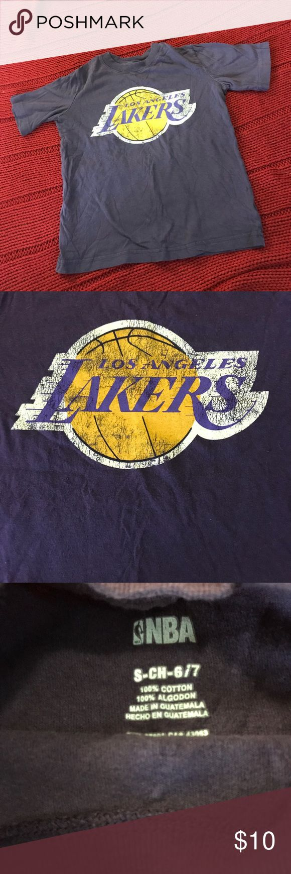 Los Angeles Lakers Shirt size small Purple vintage look Los Angeles Lakers tshirt . Youth size small. Worn once to a game. Lakers Shirts & Tops Tees - Short Sleeve