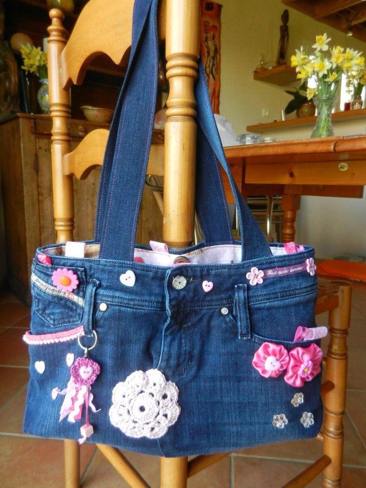 sac avec un vieux jeans