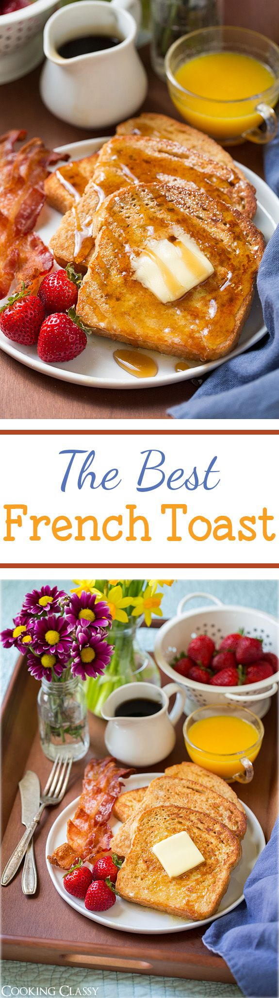 French Toast - This is my favorite recipe for french toast!! It uses a little bit of flour and it keeps the french toast fluffy and the small amount of cream keeps it rich.