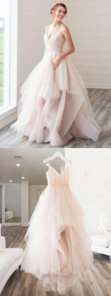 Chic Cheap Prom Dress, V neck Long Prom Dress,Tulle Evening Dress