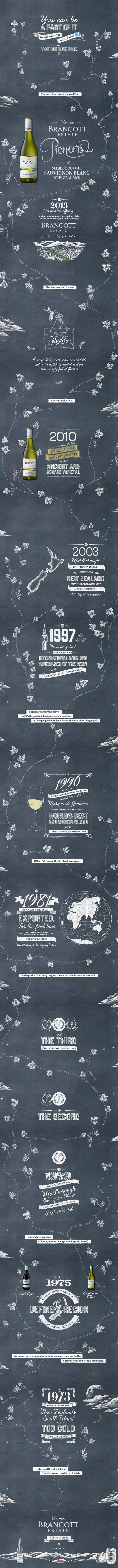 Brancott Estate. 40 years of wine-making history in a one page (upside-down) scroller. #webdesign #design