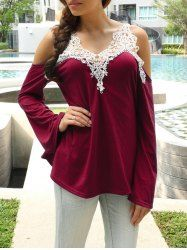 Sexy V-Neck Long Sleeve Cut Out Spliced T-Shirt For Women (RED,M)   Sammydress.com Mobile