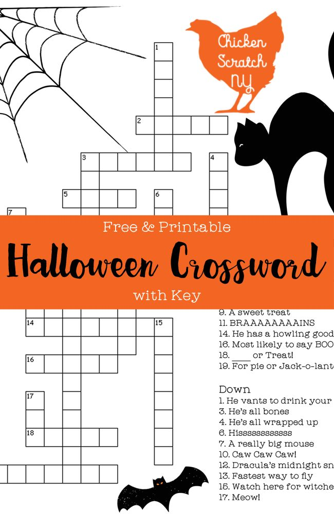 free printable halloween crossword puzzle ready to download and print on a standard sheet of - Halloween Crossword Puzzles With Answers