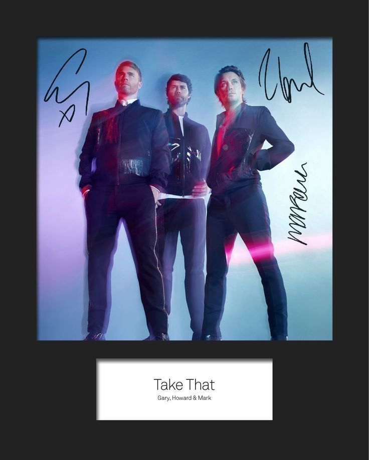 Take That 3 Signed Mounted Photo 10 X 8 Print Amazon Co Uk Kitchen Home Robbie Williams Take That Howard Donald