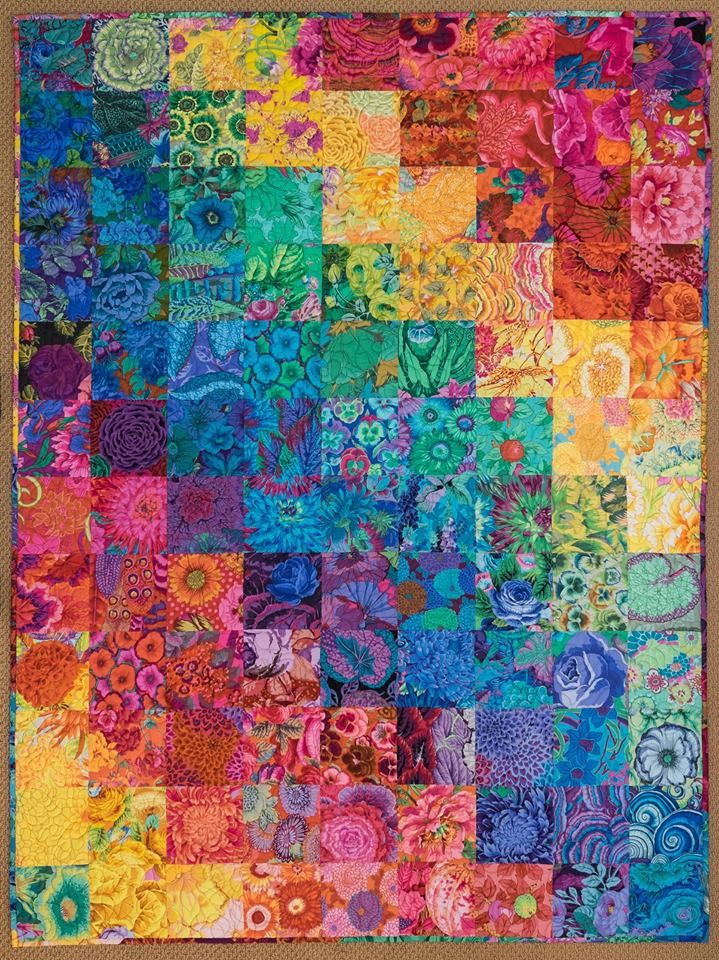 "Julia Hill Enzenberger‎ from Kaffe Fassett Collective.  This is a quilt I finished recently. I've named it Floral Rainbow. It has 108 different Philip and Kaffe prints in it. The blocks are 6.5"" cut. The finished size is 54"" by 72""."