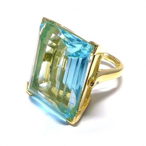 Kenneth Jay Lane Aqua Swarovski Crystal Cocktail Ring