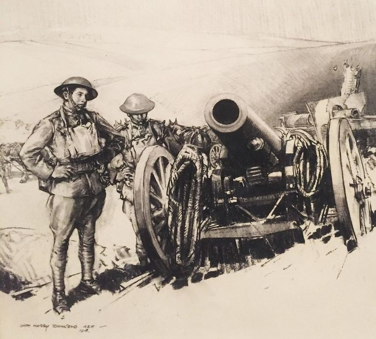 """""""Left by the Hun, 152 mm mortar,"""" by Harry Everett Townsend. 1918"""