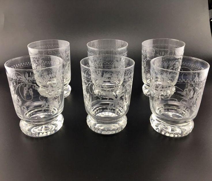 6 Gläser Becherglas Wasserglas Whiskybecher Theresienthal Radgravur Vogel
