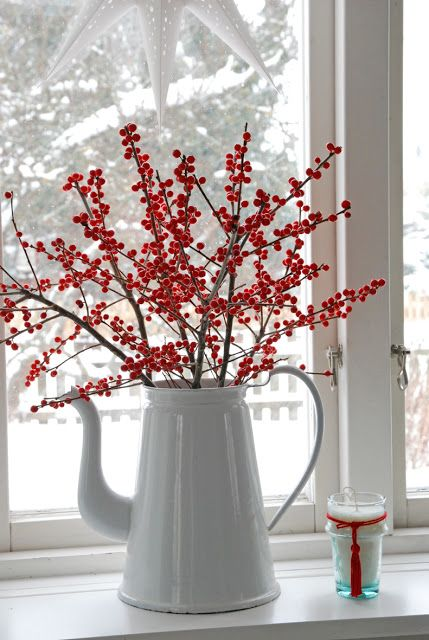 Red winterberry bouquet in a white enamelware pitcher.  A white with red vignette.  ::  White Ranunkler: White, white, white and so little, a little red.