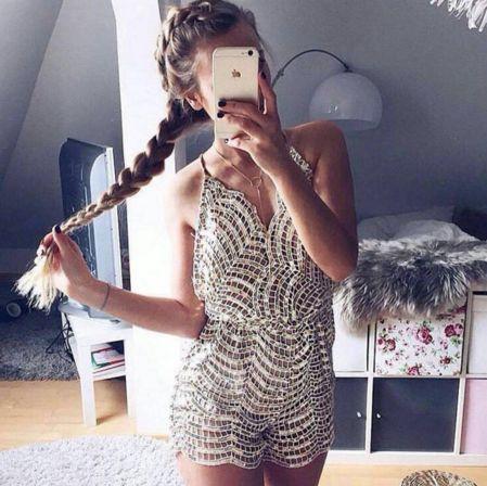Katrina Gold-Silver Romper