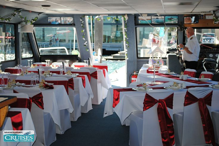 Red and white themed floating wedding reception. #wedding #venue #reception
