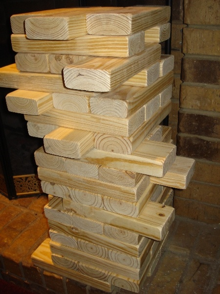 Giant Jenga Tumbling Tower. (great idea for an outdoor wedding activity or bbq)